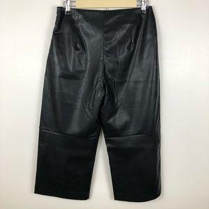 Jieru Pants - Jieru Vegan Leather Cropped Wide Leg Pants